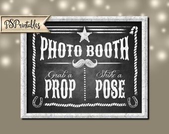 Printable Western Photo booth Sign 5x7, 8x10 AND 11x14 - DIY chalkboard photo booth sign