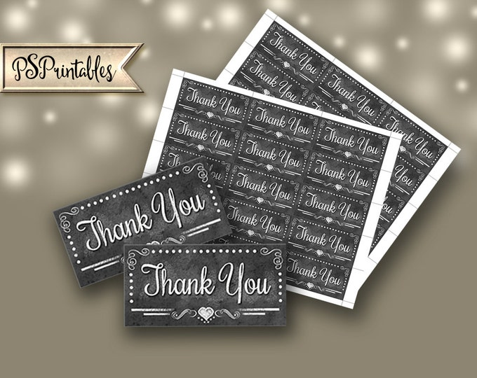 """Printable Thank you  Chalkboard tags- 1.5""""x3"""" - instant download digital file - DIY - Rustic Heart Collection"""