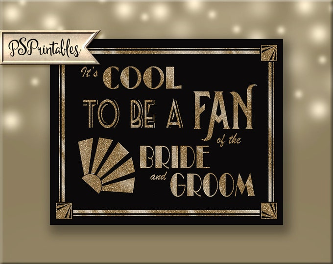 Printable Art Deco Wedding Fan Favor sign - Great Gatsby 1920's theme, Wedding favor sign downloadable digital file--black and glitter gold