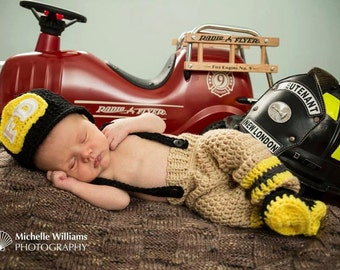 Baby firefighter,  firefighter photo prop, crochet, newborn crochet outfit, firefighter halloween costume, baby shower gift, free shipping