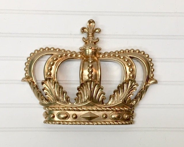 Metal Wall Crown Decor : Gold princess crown nursery by theshabbystore