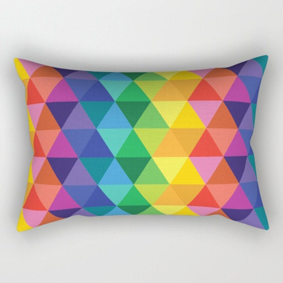 Throw Pillow  - Colors of the Rainbow - Triangles