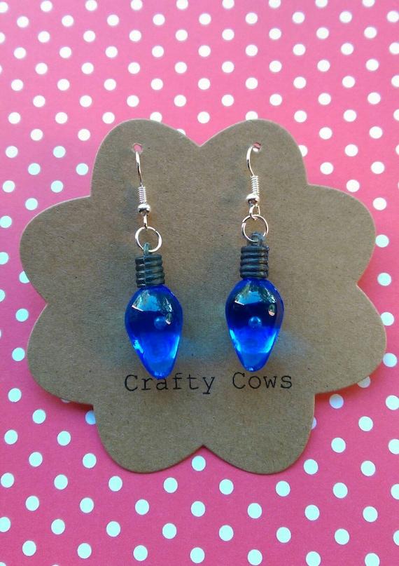 sale christmas tree lights dangle earrings large blue. Black Bedroom Furniture Sets. Home Design Ideas