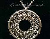 Stainless steel GSG chainmaille pendant.