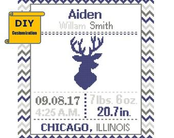 Deer Cross Stitch Deer Birth Announcement cross Stitch Birth Record chevron Baby Boy Girl Antler Instant Download DIY customizable Pattern