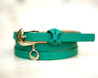 Free shipping! Leather belt, green belt, blue belt, turquoise belt, bow belt, blue woman belt, waist belt, skinny belt, thin belt