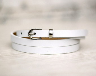 15% OFF! Free shipping! Leather belt, white belt, white woman belt, narrow belt, thin belt, white waist belt, skinny belt, dress belt