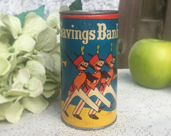 Rare Antique Toy Soldier Tin Litho Coin bank, Arbee piggy bank, décor, collectable, décor toy, Mid Century, Blue Red yellow