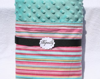 Pink and aqua  stripe flannel blanket with  minky dot on the reverse