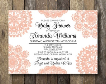 Lace Baby Shower Invitation - Baby Shower Invite - Printable Baby Shower Invitation