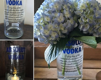 Absolute Vodka Bottle Vase/Tea light Holder