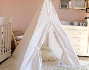 Childrens Teepee White with Pom fringe - Kids teepee play tent, teepee tent, tipi, toddler gift, white teepee, play teepee, nursery decor