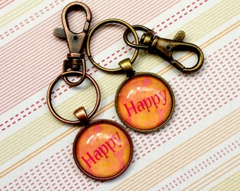 SALE 25% off! HAPPY Metal and Glass Keychain - Great Stocking Stuffer!