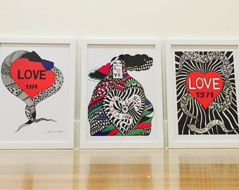 3 x YSL Love Unframed Poster Prints Home Decor Art A3 Size
