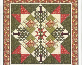 """Peddlecar Quilts Winterbury Trees Quilt pattern Christmas trees Holidays Sewing 62 X 62 inches Intermediate 12"""" Blocks uncut"""