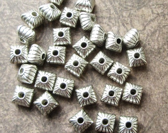 30 x Antique Silver Metal Spacer Beads 7mm Flat Square