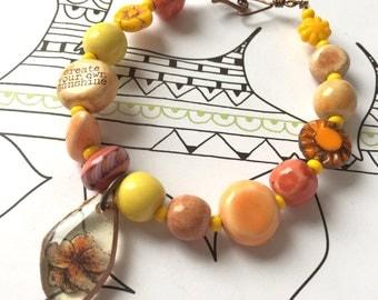 Sunshine bracelet, inspirational, ceramic bracelet, ceramic word bead, nature, sunshine