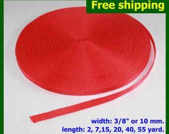 "PROMO DISCOUNT !!! 3/8""(10mm) Red Nylon webbing fabric lots DIY supply 3 7 15 20 40 55 yard"