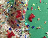 Nail Art Acrylic Gel glitter mix Christmas SANTA'S BOOTIES