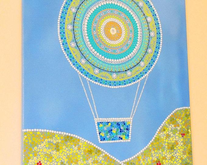 Mandala canvas art. Indigenous Wall painting. Hot air balloon hanging art. Hippy dot art. Home decor. Ethnic painting. Gift ideas handmade.