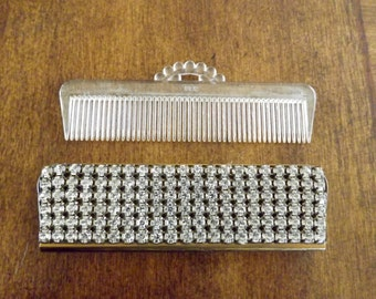 Comb Case With Beveled Mirror And Rhinestones By Schildkraut Made In Germany 1950's_Vintage Comb Holder 1950