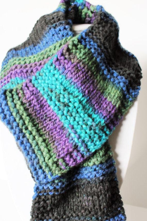 Knit Striped Scarf Acrylic Yarn Scarf Jeweled Color Scarf