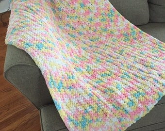 Handmade Chunky Pink, Yellow, Blue & White Multi-Colored Crocheted Baby Blanket