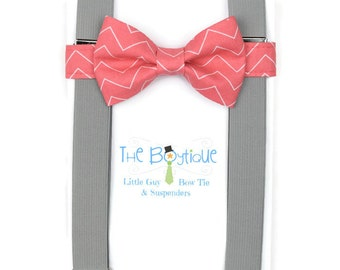 Coral Bow Tie, Grey Suspenders: Toddler Suspenders, Adult, Mens, Boys, Kids, Ring Bearer Gift, Wedding Party Favor, Punch, Melon, Chevron