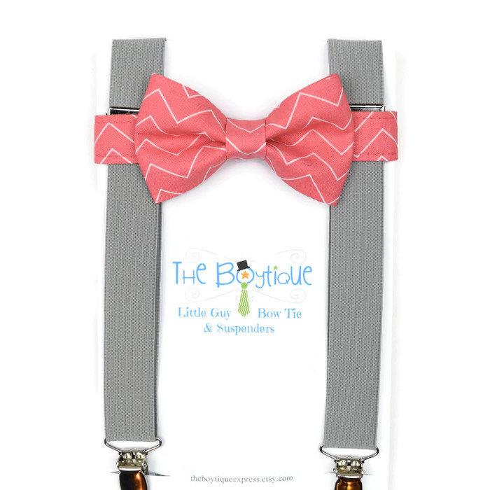 coral bow tie grey suspenders toddler suspenders