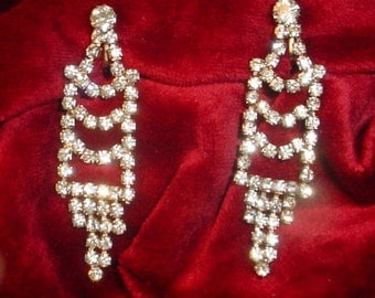 Vintage Chandelier Rhinestone Earrings