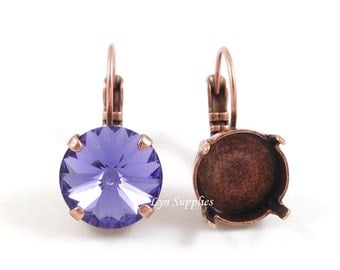 12mm Antique Copper Earring Setting 2 Pairs - Nickel Free Leverback Earring Base Fits Swarovski 12mm 1122