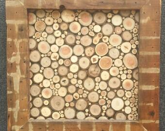 Reclaimed Wood Twig Mosaic Framed Random