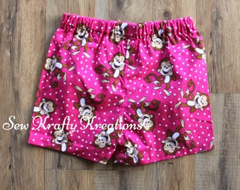 Children's  - Pink with Monkeys Lounge Shorts
