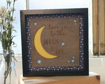Love You to the Moon and Back-Framed Wooden Wall Art