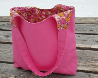 Pink Denim Canvas Bag with Inside Pockets | Happy Valentines Day