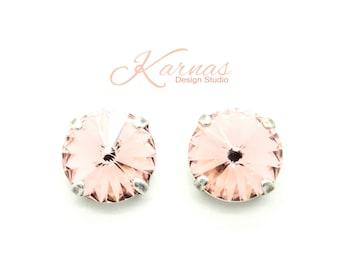 VINTAGE ROSE 12MM Crystal Rivoli Stud Earrings Made With Swarovski Elements *Pick Your Setting *Karnas Design Studio *Free Shipping*