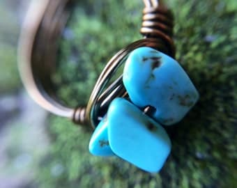 Turquoised dyed jasper-wire ring-wire wrapped jewelry-bohemian jewelry