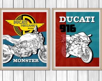 "Ducati Decor, Set of 2, Motorcycle Art, Garage Art, Instant Download, Motorcycle Decor, Ducati 916, Ducati Monster, Ducati, 8x10"""