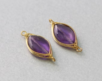 Amethyst Gemstone Connector . Polished Gold Plated . 10 Pieces / G3024G-AM010