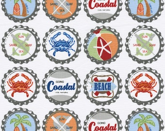 Bottle Caps Fabric - By The Yard - Boy / Vintage / Fabric
