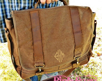 Ships in 7 Days Vintage Style Canvas laptop bag with Leather Trim Groomsmen Gift Personalized