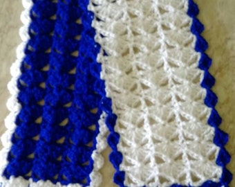 Blue white and scarf , Lacy scarf  , Crochet scarf , Fashion scarf , Hippie scarf , Soft acrylic , Boho scarf