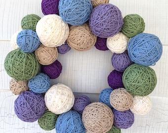 Yarn ball wreath Spring wreath Knitting decor Mothers Day gift