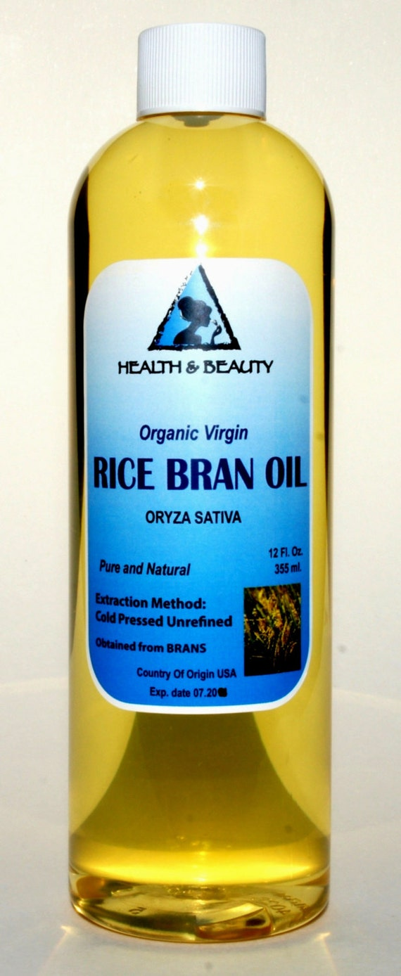 12 oz RICE BRAN OIL Organic Carrier Unrefined Cold by
