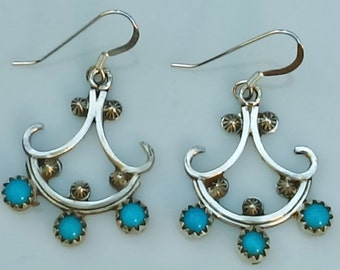 Dangle earrings petite point natural turquoise, sterling silver by Roger Pino