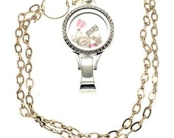 Pray in Pink Floating Locket Lanyard - Dangling Charms - Nurse ID Badge - SassyBadge - Rhinestone Lanyard - Charms