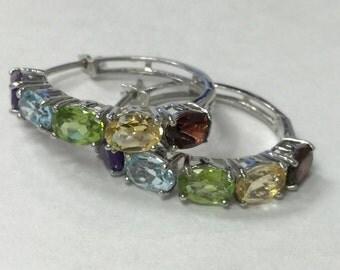 Sterling Silver Rainbow Gemstone Quartz Hoop Earrings