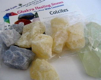 Calcite, Sample Packs, Multi Color, Healing Stones, Chakra, Reiki, Altar Stone, Yoga, Meditation, Rock Collecting, Blue, Green, Honey Yellow