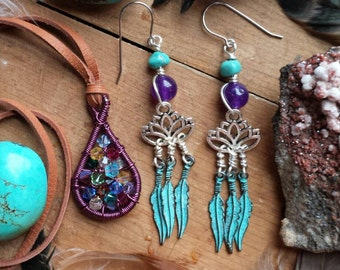 Made to order Lotus Flower Feather Earrings with turquoise and amethyst