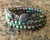 Leather Wrap Bracelet,Ruby Zoisite Wrap Bracelet,Boho Leather Wrap,Brown Leather Cuff Bracelet,Boho Brown Cuff Bracelet,CUSTOM ORDERS TAKEN